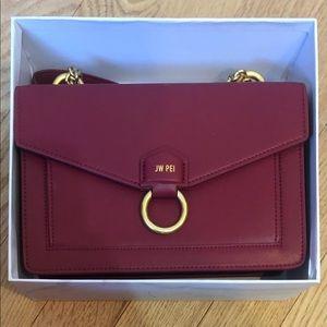 JW PEI Envelope Chain Crossbody Bag in Wine Red